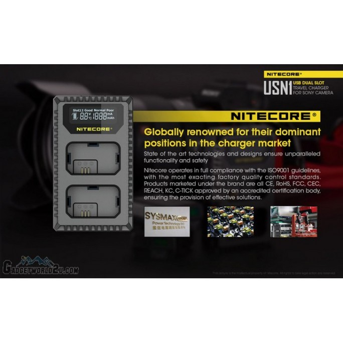 Nitecore USN1 Dual Slot Digital Charger for Sony NP-FW50 Batteries
