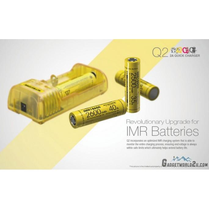 Nitecore Q2 Dual-Slot 2A Quick Charger for Li-ion / IMR Batteries (Black)