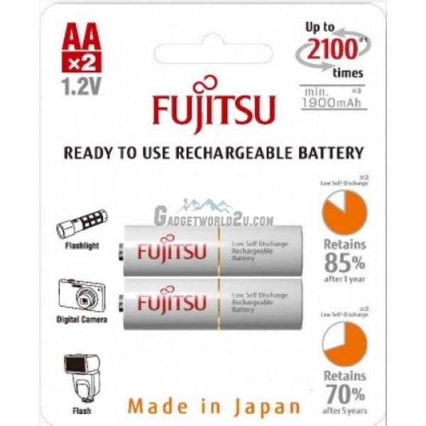 Fujitsu AA x2 2000mAh NiMH 2100 Cycle Rechargeable Battery Japan