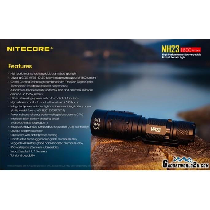 Nitecore MH23 1800L CREE XHP35 HD LED Flashlight