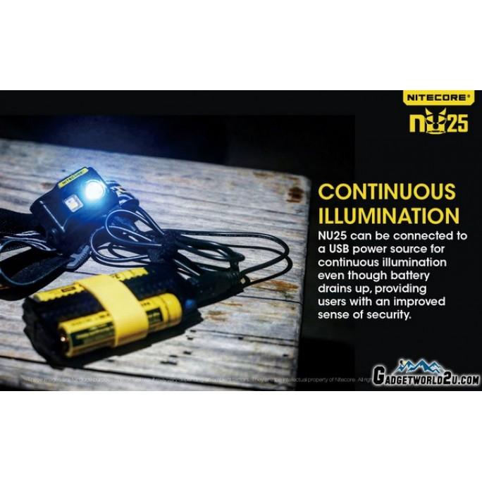 Nitecore NU25 360L CREE XP-G2 LED Rechargeable Headlamp - Yellow