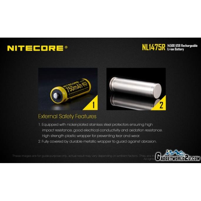 Nitecore 14500 750mAh 3.6V USB Rechargeable Li-ion Battery NL1475R