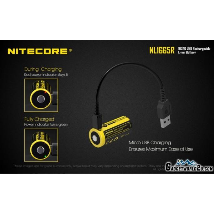 Nitecore RCR123 16340 650mAh 3.6V USB Rechargeable Li-ion Battery NL1665R