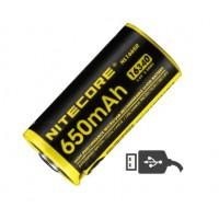 Nitecore 16340 650mAh 3.6V USB Rechargeable Li-ion Battery NL1665R