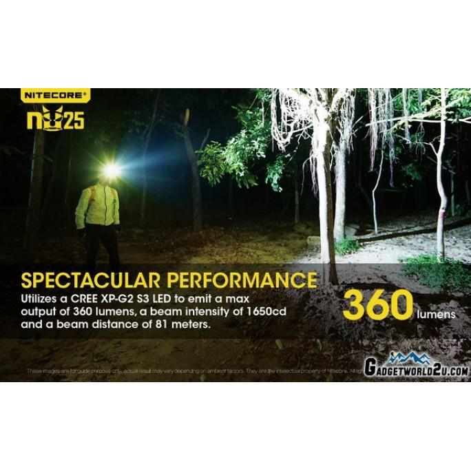 Nitecore NU25 360L CREE XP-G2 LED Rechargeable Headlamp - Black