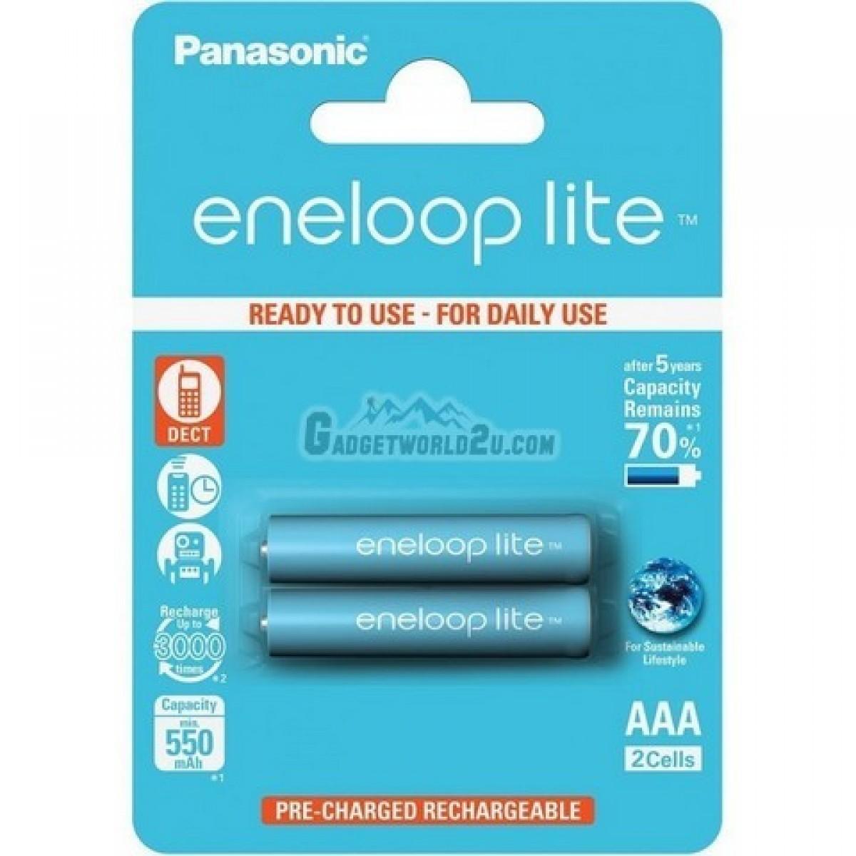 Panasonic Eneloop Lite AAA x2 600mAh NiMh Rechargeable