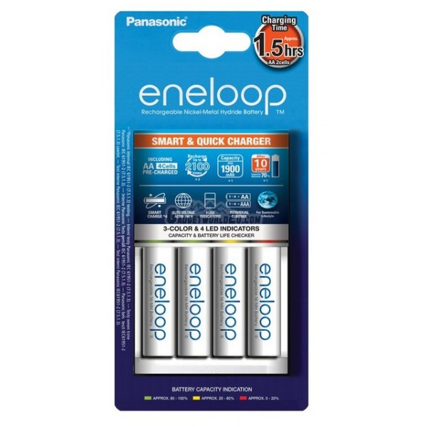 Panasonic Eneloop 1.5Hr Quick Charger + AA x4 2000mAh NiMH 2100 Battery Japan