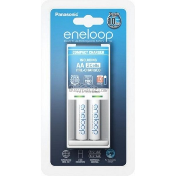 Panasonic Eneloop 10Hr Charger + AA x2 2000mAh NiMH 2100 Battery Japan
