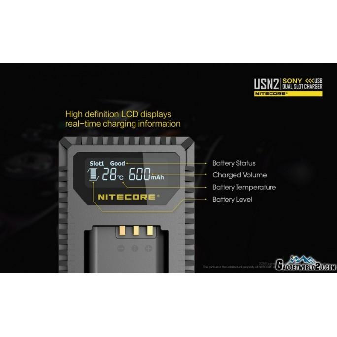Nitecore USN2 Dual Slot USB Digital Charger for Sony NP-BX1 Batteries