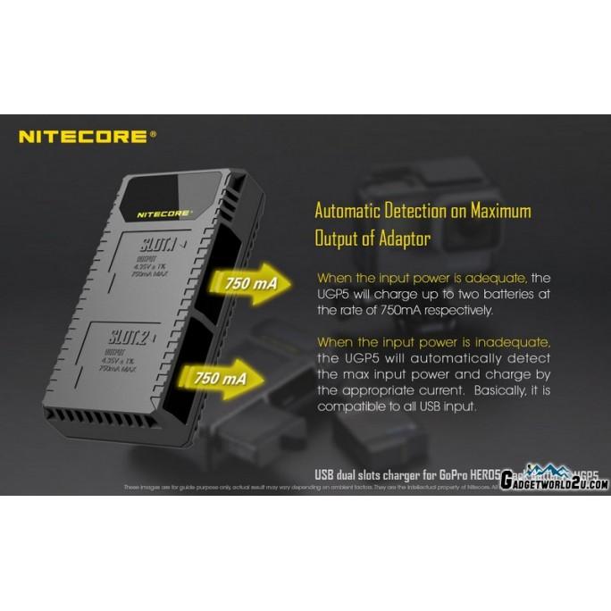 Nitecore UGP5 Two Slots Battery Digital Charger GoPro Hero 5 6 7 8