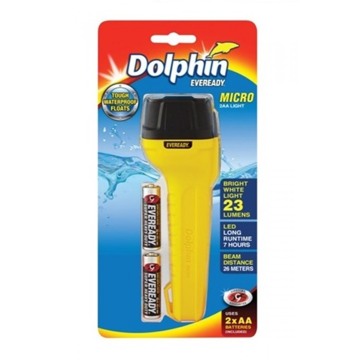 Eveready Dolphin Micro 2AA Waterproof Float 23L Flashlight DOL2AA2