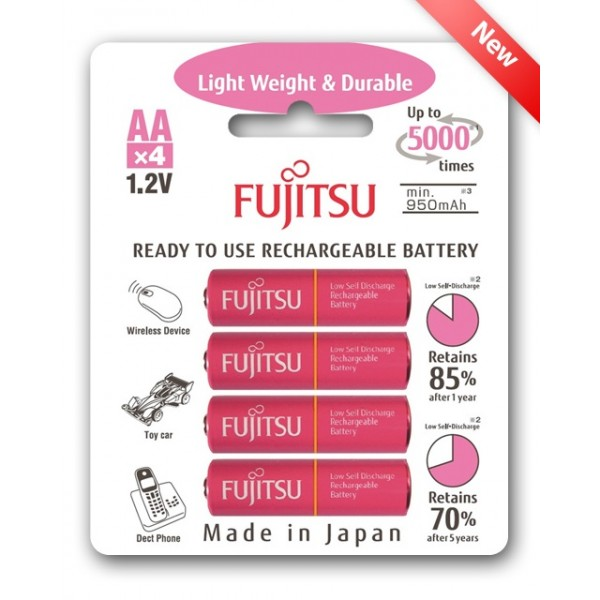Fujitsu AA x4 1000mAh NiMH 5000 Cycle Rechargeable Battery Japan