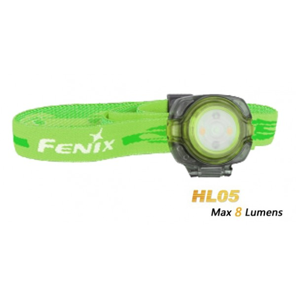FENIX HL05 White n Red LEDs 8 Lumens Headlamp - Bright Green