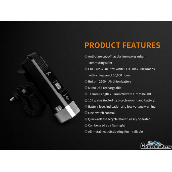 Fenix BC25R Rechargeable CREE LED Bicycle Light 600L Flashlight