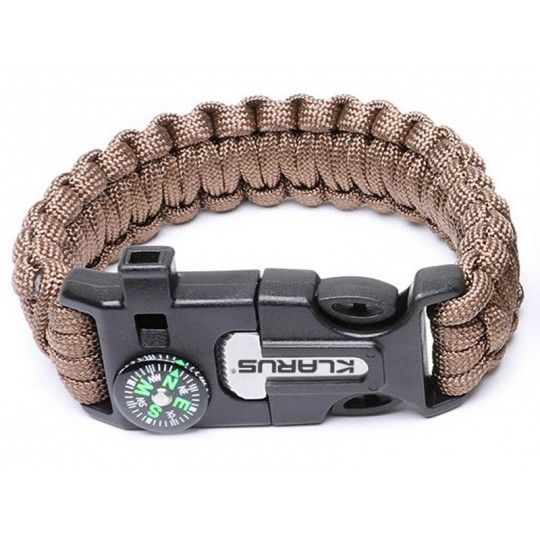 Klarus 5 in 1 Paracord Survival Bracelet  Multitool Brown