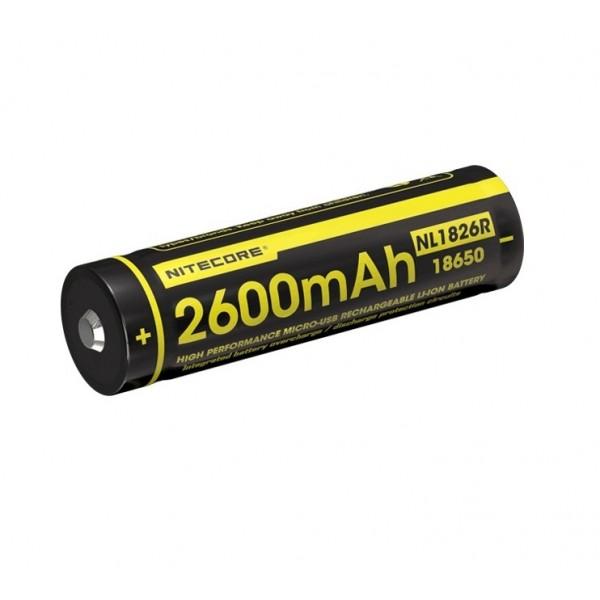 Nitecore 18650 2600mAh 3.6V USB Rechargeable Li-ion Battery NL1826R