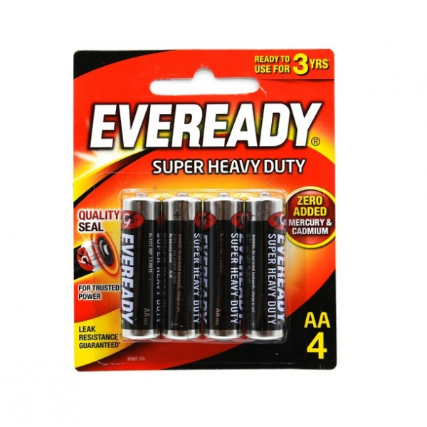 Eveready Super Heavy Duty 4x AA Carbon Zinc Battery