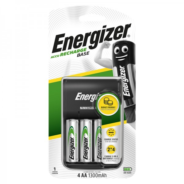 Energizer Recharge Base AA x4 NiMh 1300mAh Battery Charger