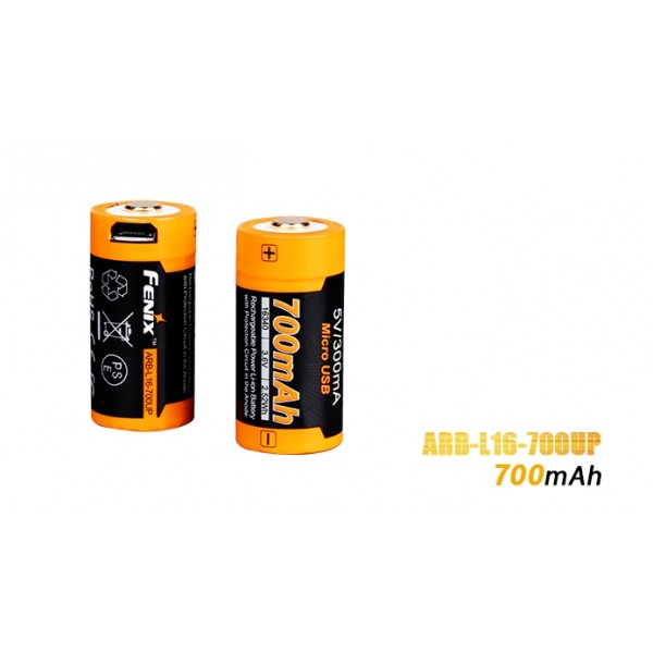 Fenix 16340 RCR123 3.6V 700mAh Li-ion USB Rechargeable Battery (ARB-L16-700UP)
