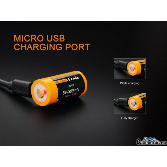 Fenix 16340 RCR123 3.6V 700mAh Li-ion USB Rechargeable Battery (ARB-L16-700UP)