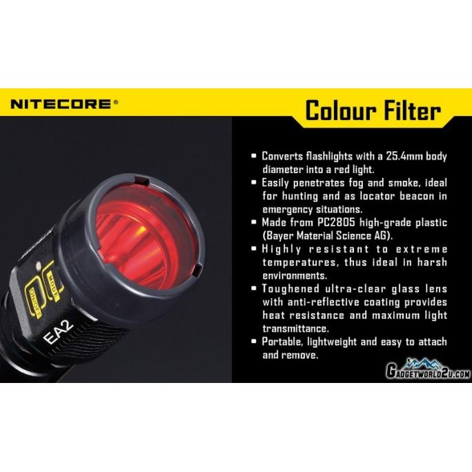 Nitecore NFR25 Red Filter for Flashlight Head Diameter 25.4mm