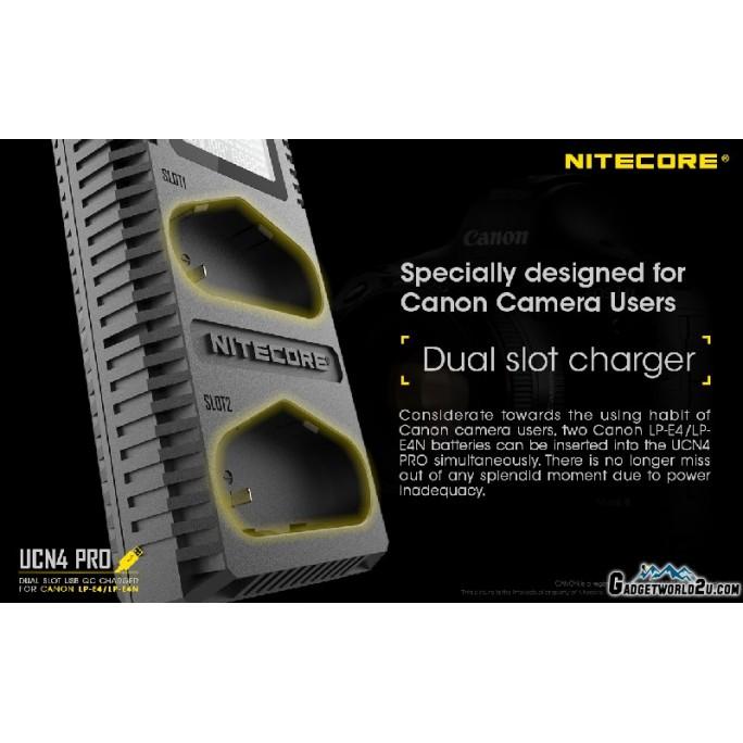 Nitecore UCN4 PRO Dual Slot Digital Charger for Canon LP-E4/LP-E4N