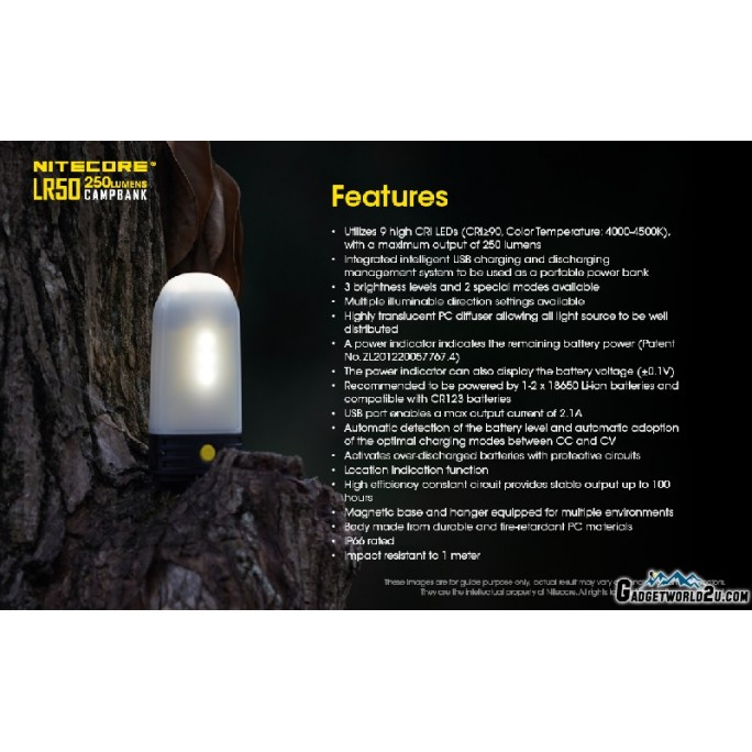 Nitecore LR50 Campbank Camping Lantern Power Bank Charger