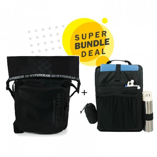 Hypergear Back Pack Dry Pac LaVictory 30 Liter Black + Organizer Bundle