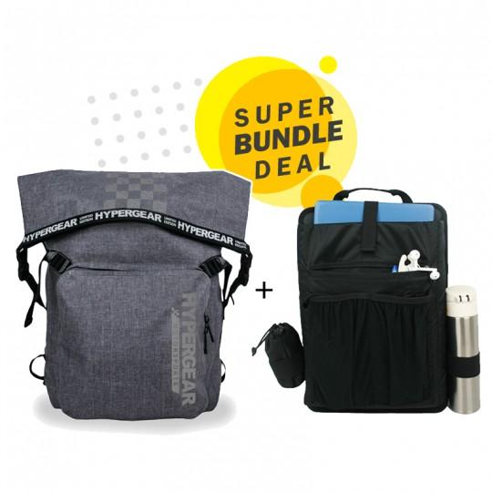 Hypergear Back Pack Dry Pac LaVictory 30 Liter Snow Grey + Organizer Bundle