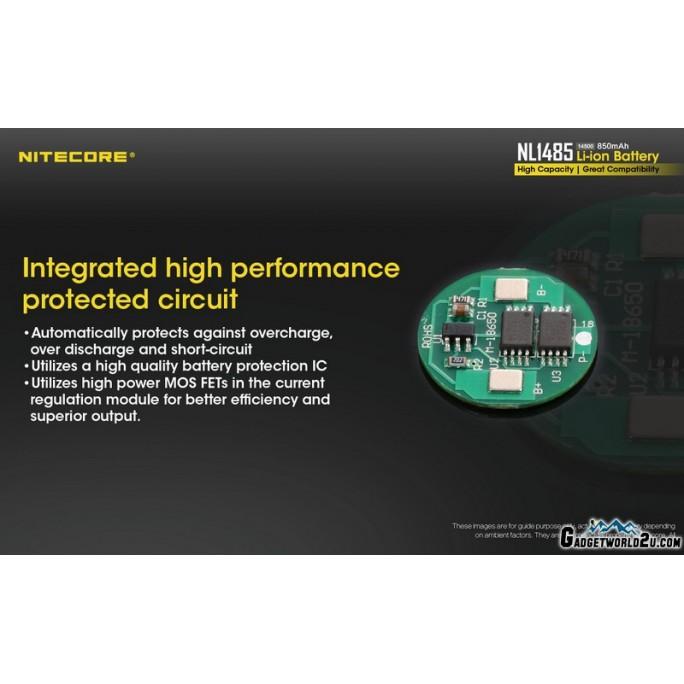 Nitecore 14500 850mAh 3.6V Rechargeable Li-ion Battery NL1485