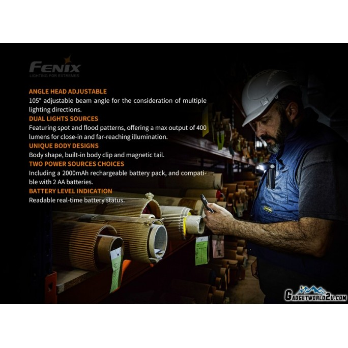 Fenix WT20R CREE LED 400L Rechargeable Multifunctional Work Light Flashlight