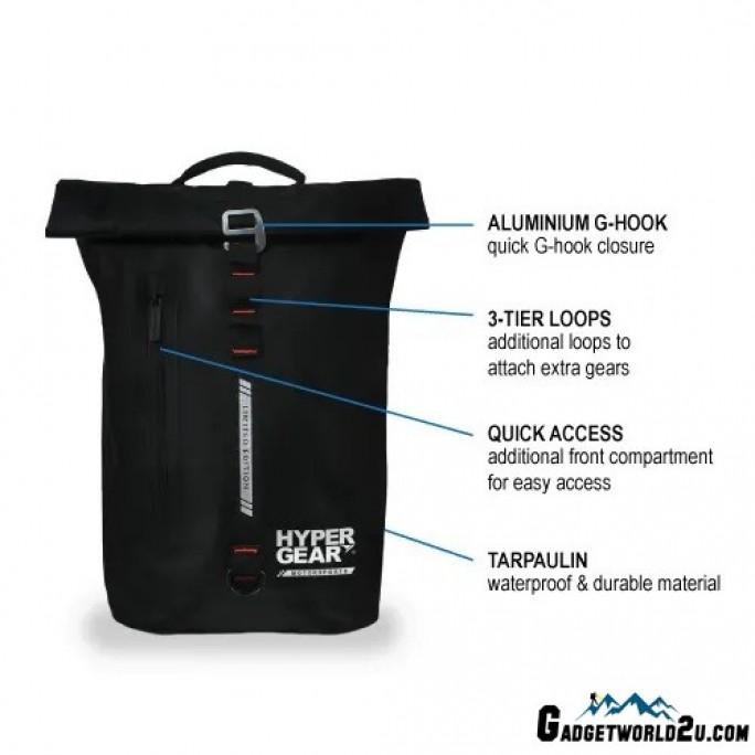 Hypergear Back Pack Dry Pac Aero 25 Liter + Organizer Bundle Black