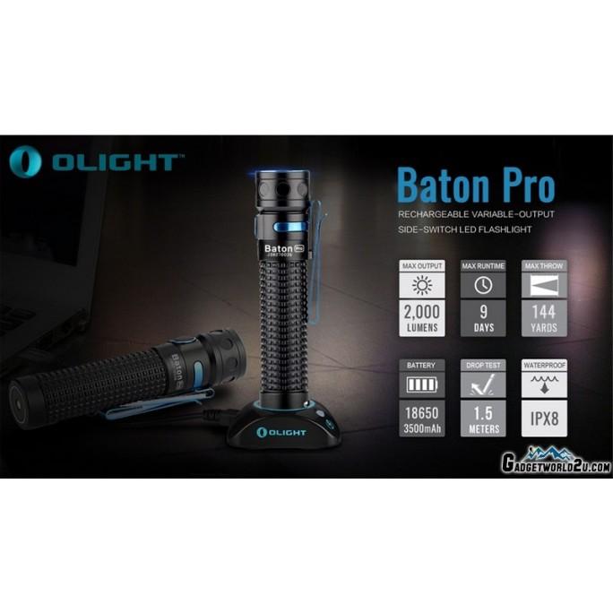 Olight Baton Pro Rechargeable LED 2000L Flashlight Black