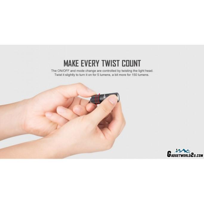 Olight i1R 2 EOS Keychain 150L LED Rechargeable Flashlight BLACK