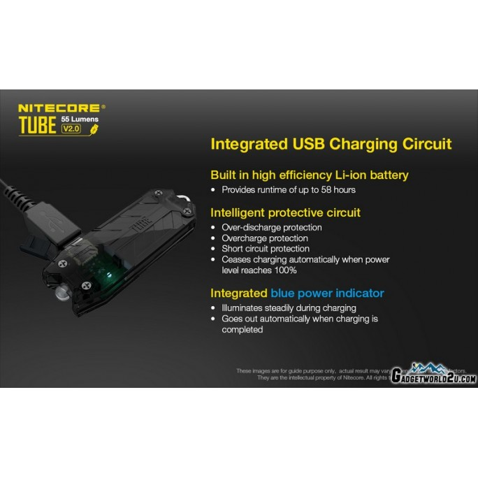 Nitecore TUBE V2.0 Transparent LED Keychain  55L Rechargeable Flashlight