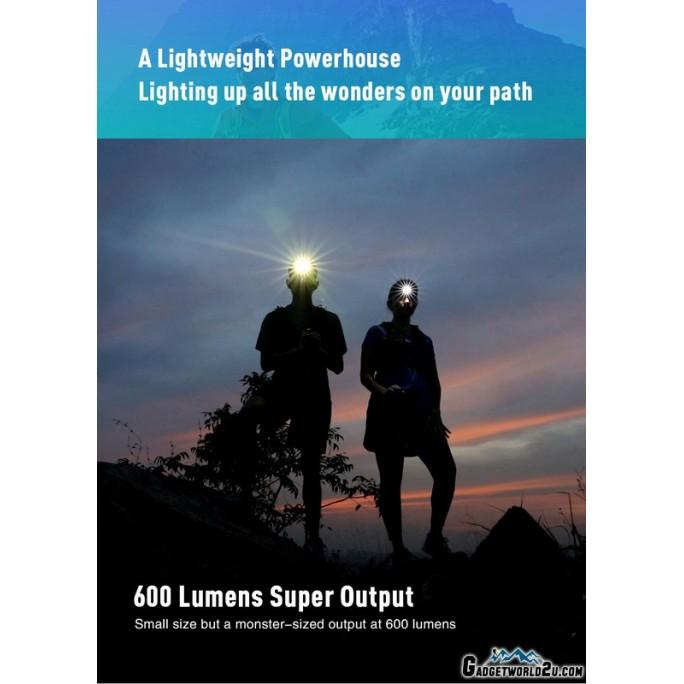 Klarus HR1 Plus CREE XP-G2 LED 600L Rechargeable Headlamp BLACK