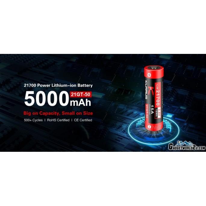 Klarus 21700 5000mAh Lithium-ion Rechargeable Battery 21GT-50