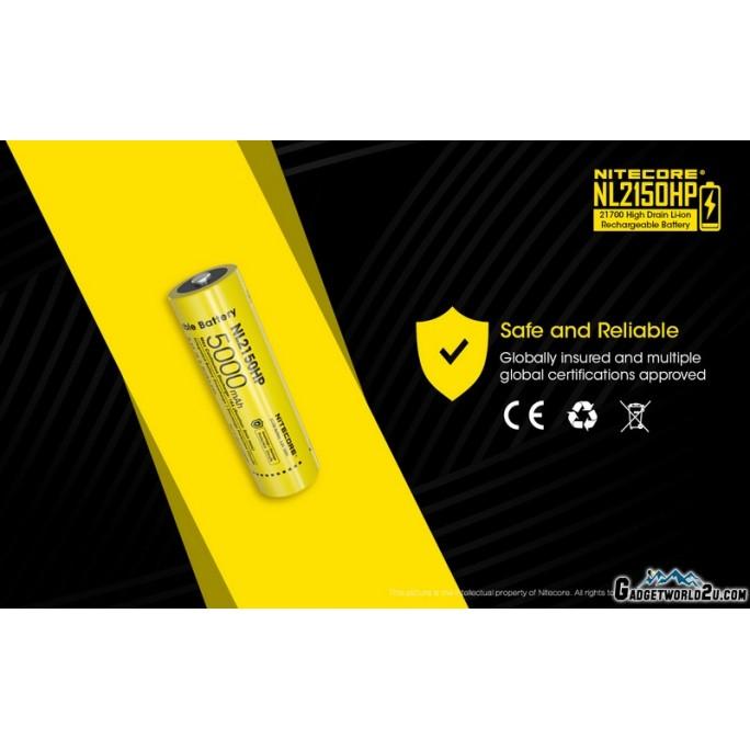 Nitecore 21700 5000mAh 15A 3.6V Rechargeable Li-ion Battery NL2150HP