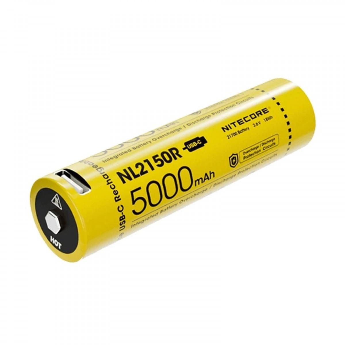 Nitecore 21700 5000mAh 3.6V USB-C Rechargeable Li-ion Battery NL2150R