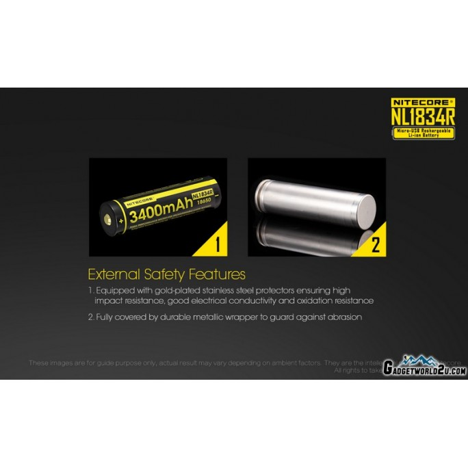 Nitecore 18650 3400mAh 3.6V USB Rechargeable Li-ion Battery NL1834R