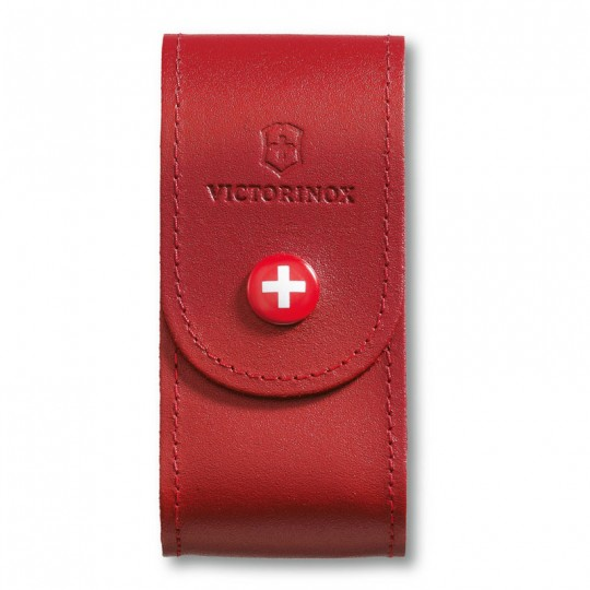 Victorinox Red Leather Belt Pouch with Push Button for 91mm 5-8 layers 4.0521.1