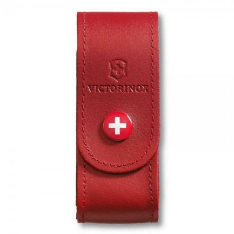 Victorinox Red Leather Belt Pouch with Push Button for 91mm 2-4 layers 4.0520.1