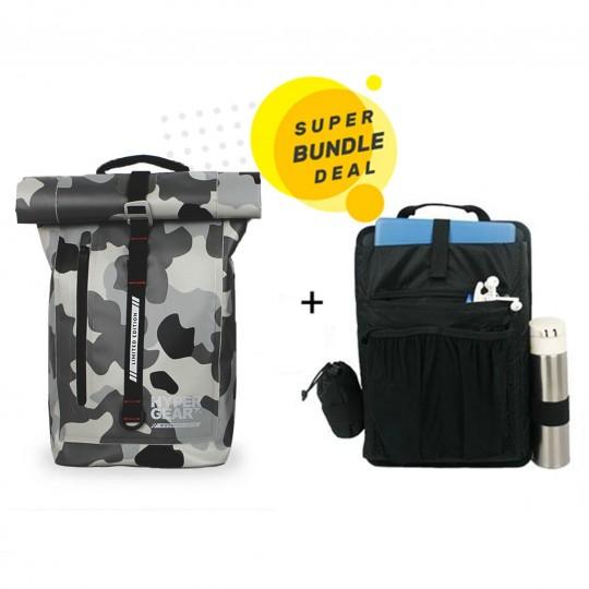 Hypergear Back Pack Dry Pac Aero 25 Liter + Organizer Bundle Camo Grey Alpha