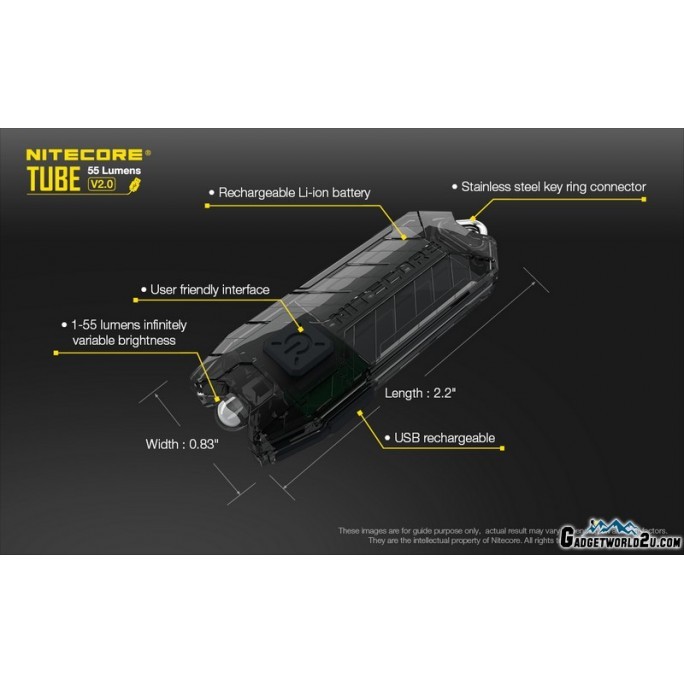 Nitecore TUBE V2.0 Transparent Olive LED Keychain 55L Rechargeable Flashlight