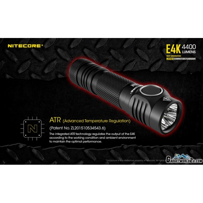 Nitecore E4K XP-L2 V6 LED 4400L Flashlight with USB-C Rechargeable Battery