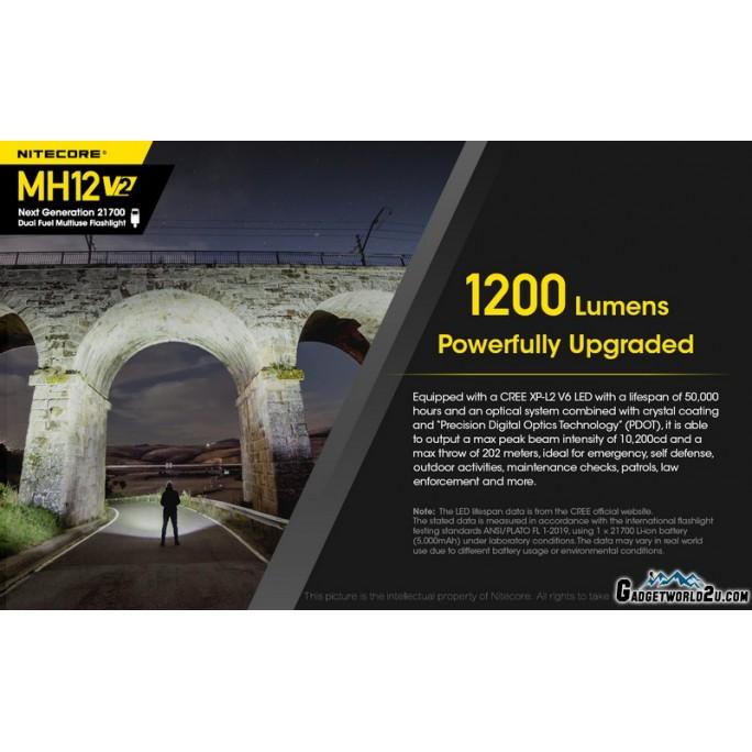 Nitecore MH12 V2 CREE XP-L2 V6 LED 1200L Rechargeable Flashlight