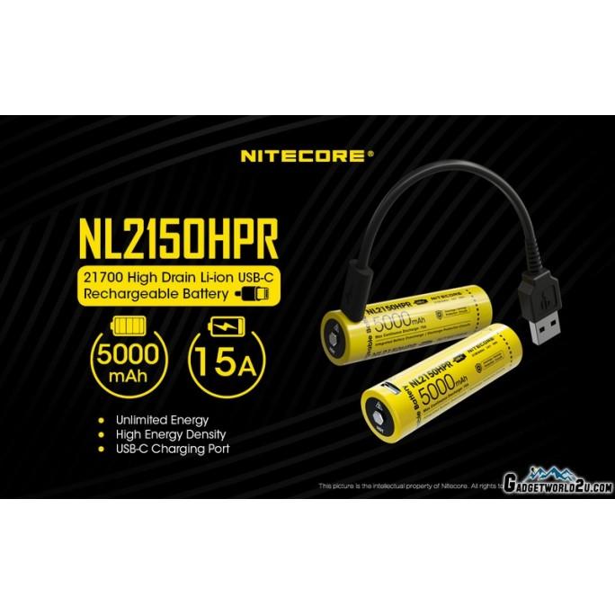 Nitecore 21700 5000mAh 15A 3.6V USB-C Rechargeable Li-ion Battery NL2150HPR