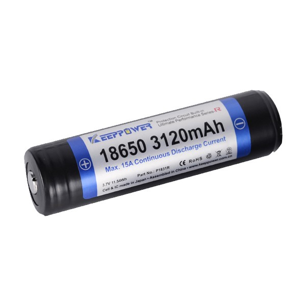 KeepPower 18650 15A 3.7V 3120mAh Li-ion Rechargeable Battery P1831R