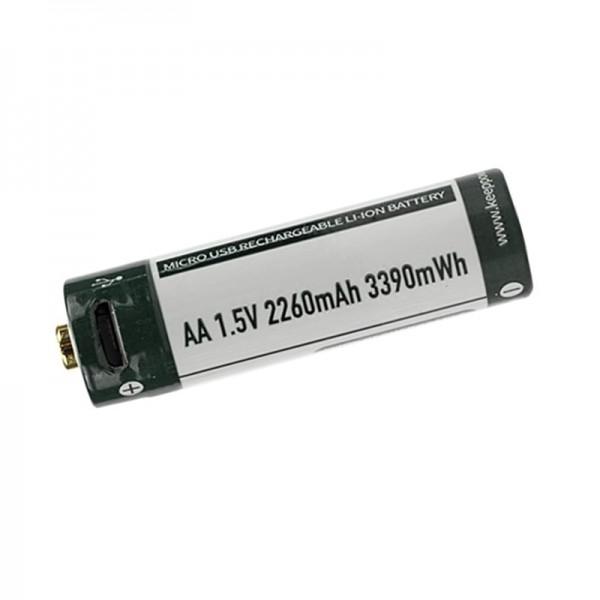 KeepPower AA 1.5V 2260mAh Li-ion USB Rechargeable Battery P1450U2