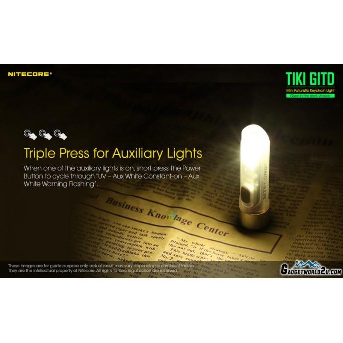 Nitecore TIKI GITD w UV & HCRI White LED Keychain 300L Rechargeable Flashlight
